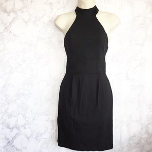 French Connection black high neck tie dress size 4